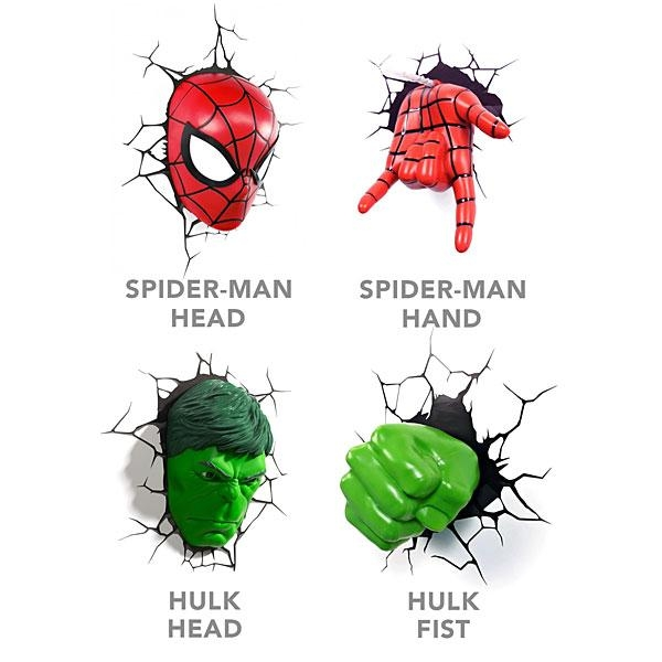 Marvel 3D Deco Superhero Wall Lights | Thinkgeek Inside Hulk Hand 3D Wall Art (Image 11 of 20)