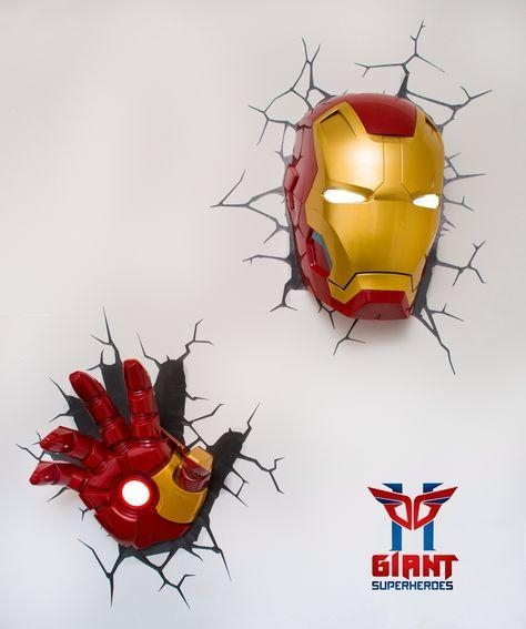 Marvel Avengers 3D Wall Art Night Light (S) Combo + Iron Man Hand Regarding 3D Wall Art Iron Man Night Light (Image 14 of 20)