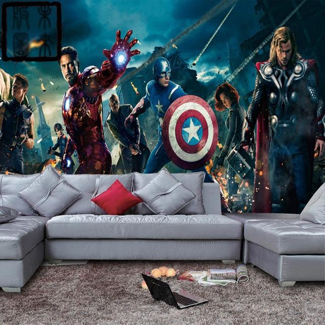 Marvel Avengers Heroes Photo Wallpaper 3D Wall Mural Kids Boys For Iron Man 3D Wall Art (Image 14 of 20)