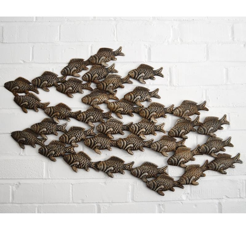 Metal Wall Art – Shoal Of Fish – Coastalhome.co (View 6 of 20)