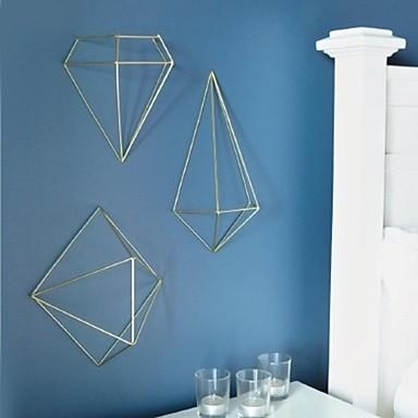 Metal Wall Art Wall Decor,the 3D Geometry Wall Decor Set Of 3 Pertaining To 3D Triangle Wall Art (Image 14 of 20)