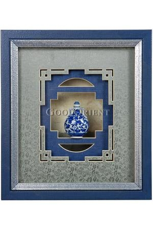Mini Blue And White Porcelain Snuff Bottle 3D Framed Art Wall Decor Inside Framed 3D Wall Art (Image 13 of 20)