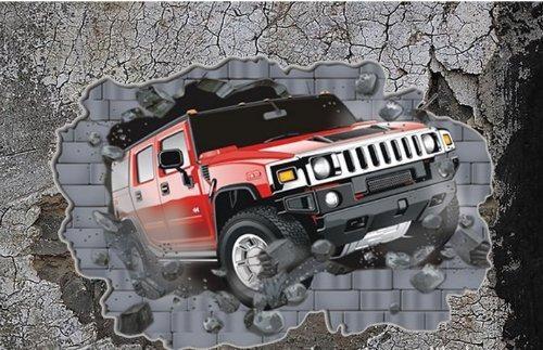 Minimum Order $10] 60*100Cm Break Through Walls Car 3D Wall Vinyl Pertaining To Cars 3D Wall Art (Image 14 of 20)