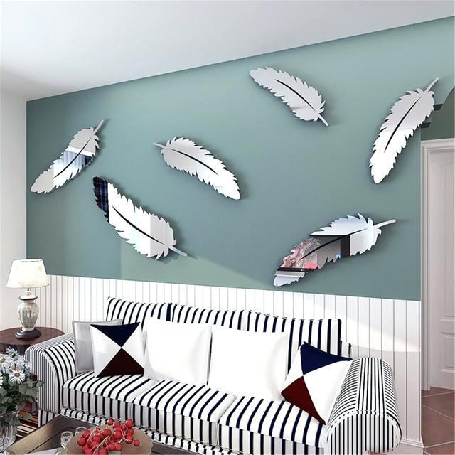 Mirror Butterfly Wall Decor Target Removable Diy Silver Feather 3D Inside 3D Wall Art Walmart (View 5 of 20)