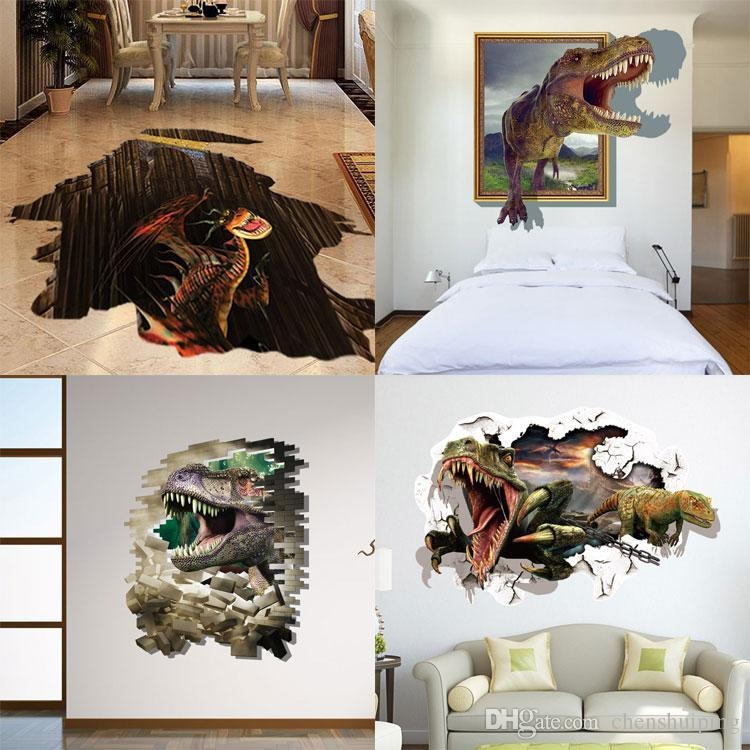 Mixed New 3D Dinosaur Wall Stickers Decorative Wall Decal Cartoon For Dinosaurs 3D Wall Art (Image 16 of 20)
