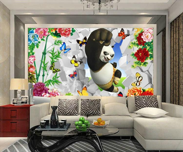Modern Cartoon Tv Sofa Sitting Room Mural Wall Paint Wallpaper Inside Painting 3D Wall Panels (Image 14 of 20)