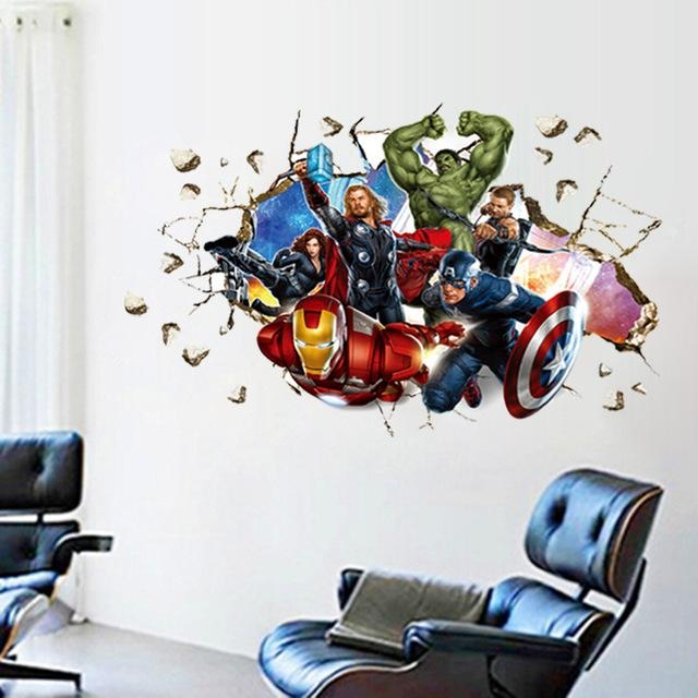 Movie 3D Wall Stickers Home Decor The Avengers Cartoon Wall With Regard To Avengers 3D Wall Art (Image 13 of 20)