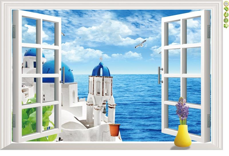 Natural Scenery 3D Window Decal Home Decor Mediterranean Sea Wall Intended For 3D Wall Art Window (Image 12 of 20)