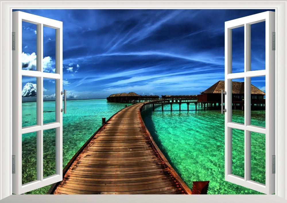 Natural Scenery Bridge Sea 3D Window Decal Home Decor View Throughout 3D Wall Art Window (View 6 of 20)