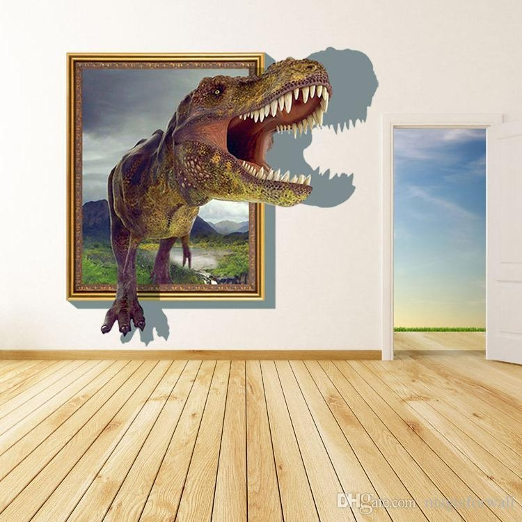 New Arrival 3D Cartoon Dinosaur Out Of The Frame Wall Decor In Dinosaurs 3D Wall Art (Image 17 of 20)