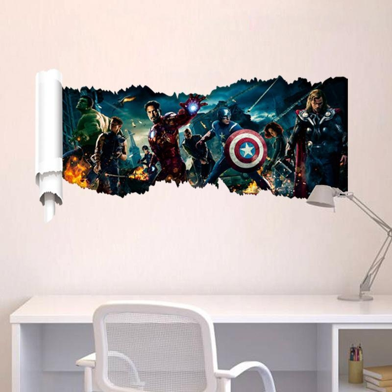 New Avengers Scroll Wall Art Mural Decal Sticker Cartoon Movie Intended For Avengers 3D Wall Art (Image 14 of 20)
