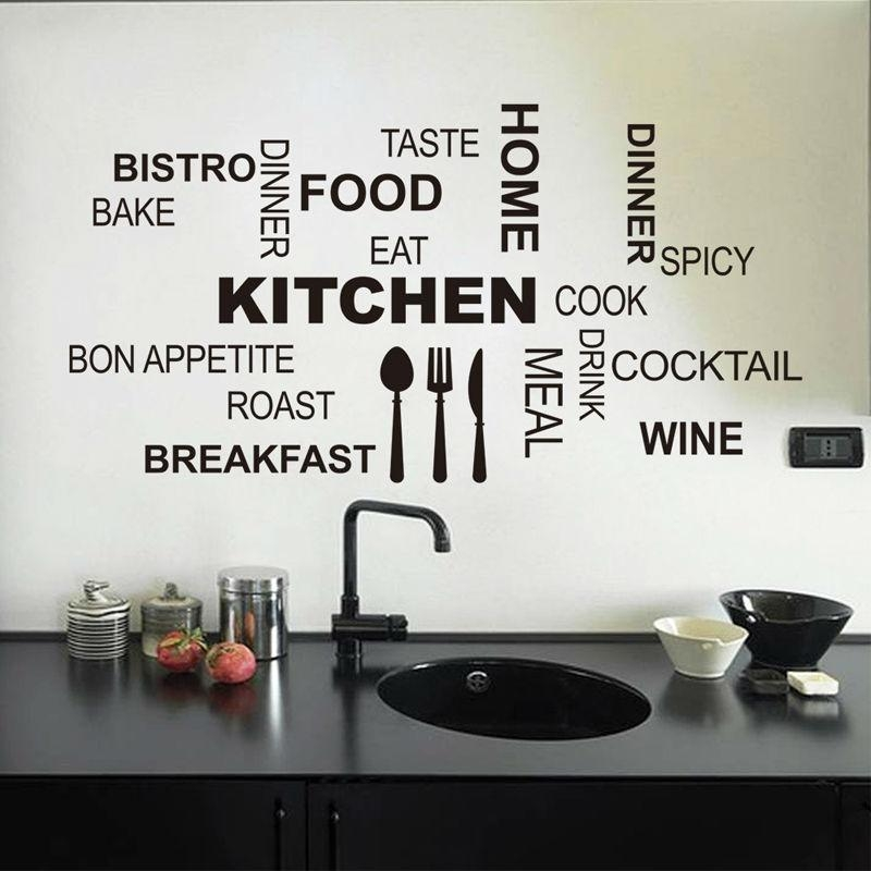 New Design Creative Diy Wall Stickers Kitchen Decal Home Decor For 3D Wall Art For Kitchen (Image 18 of 20)