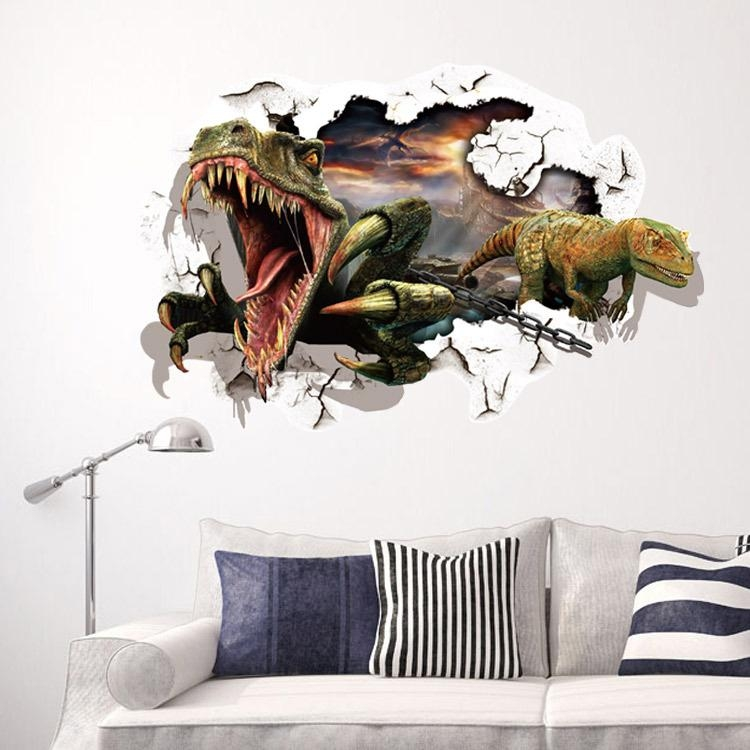 New Dinosaur Cartoon 3D Wall Stickers Animals For Kids Rooms Decor With Regard To Animals 3D Wall Art (Image 17 of 20)