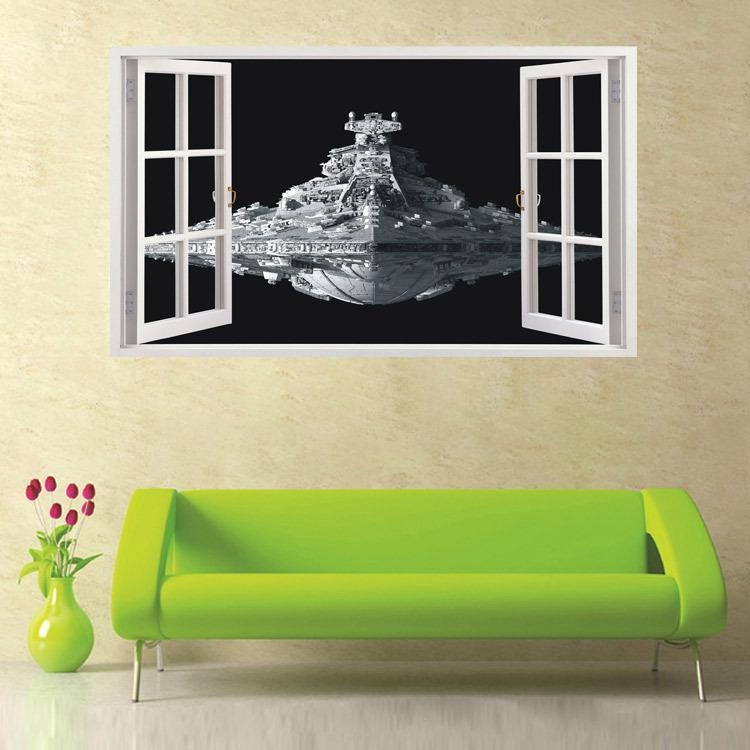 New Star Wars 3D Spacecraft Wall Stickers Home Decor Living Room Within Space 3D Vinyl Wall Art (Image 10 of 20)