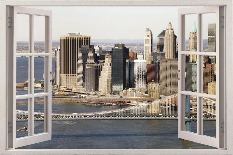 New York City Skyline Window View Wall Stickers Huge 3D Art Decal Inside New York 3D Wall Art (Image 4 of 20)