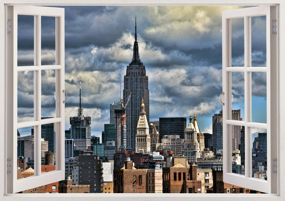 New York Skyline Wall Decal 3D Window Design New York Wall With Regard To New York 3D Wall Art (Image 8 of 20)