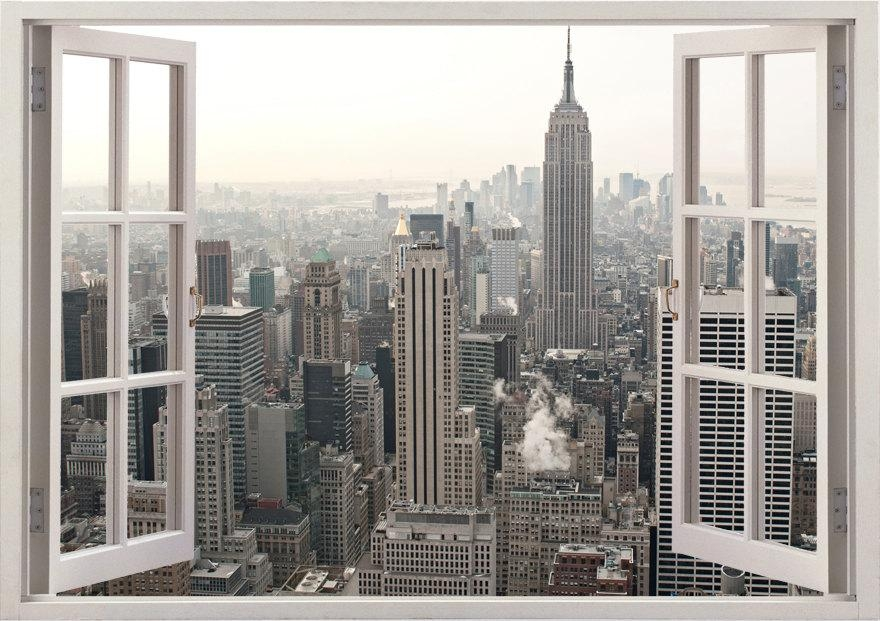 New York Wall Sticker 3D Window New York Wall Decal Ny For Regarding New York 3D Wall Art (Image 11 of 20)