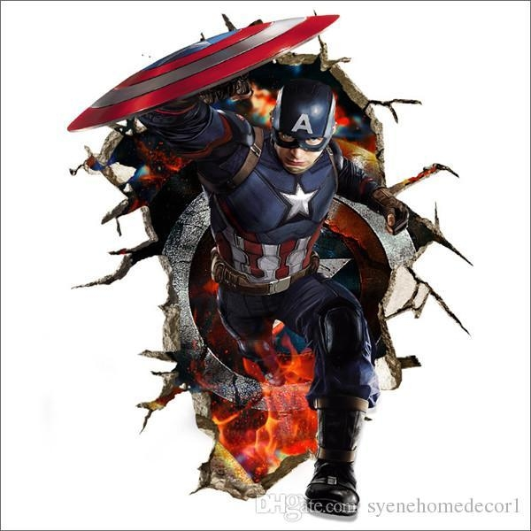 Newest Captain America Wall Decals 3D Wall Stickers For Baby Throughout Captain America 3D Wall Art (Image 16 of 20)