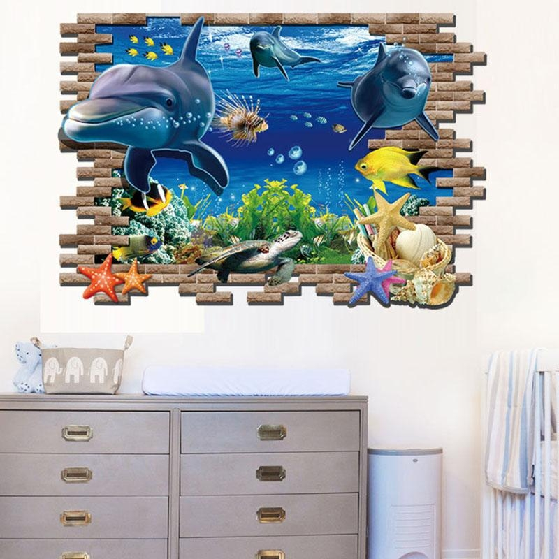Ocean View Tortoise Fish 3D Wall Sticker Bathroom Decals Sea Wall Intended For Fish 3D Wall Art (View 4 of 20)