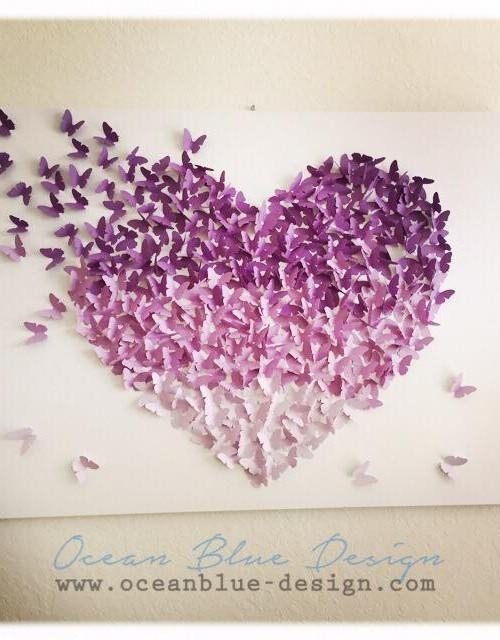 Ombre Butterfly Heart 3D Canvas Wall Art – Lavender / Purple Regarding 3D Wall Art Canvas (Image 16 of 20)
