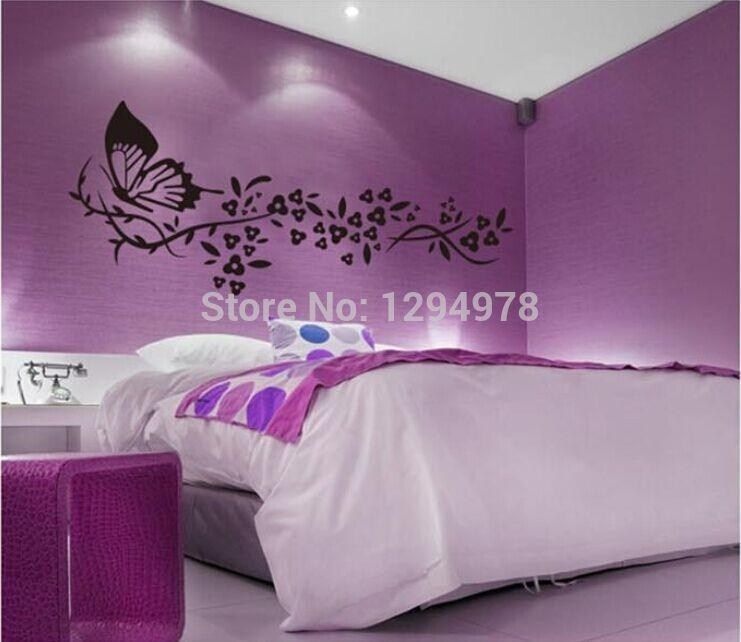 Online Shop 118*72Cm Black Butterfly&flower Living Room Vinyl Wall For Bedroom 3D Wall Art (Image 17 of 20)