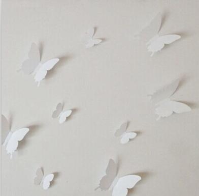 Online Shop 12Pcs 3D Butterfly Wall Stickers Butterflies Decor Art With Regard To White 3D Butterfly Wall Art (Image 16 of 20)