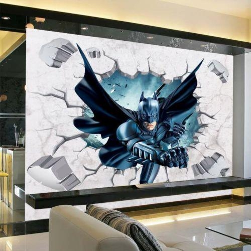 Online Shop 3D Batman Wall Sticker Kids Nursery Room Cartoon Decor Within Batman 3D Wall Art (View 20 of 20)