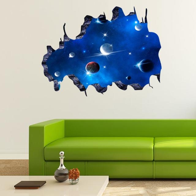 Online Shop New 3D Diy Sticker Name Galactic Space Home Decor With Space 3D Vinyl Wall Art (Image 13 of 20)