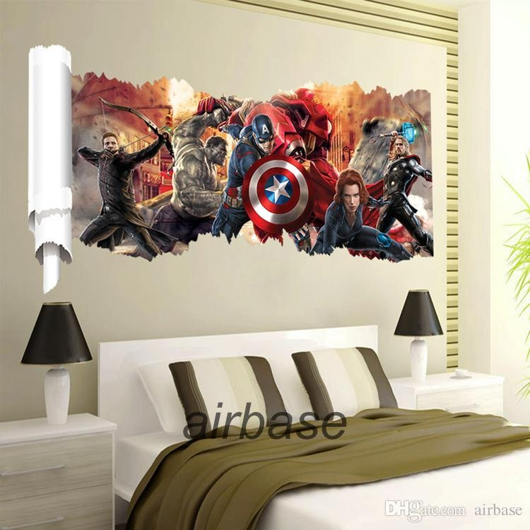 Online Wholesale The Avengers 3D Wall Sticker Captain American Regarding 3D Wall Art Wholesale (Image 11 of 20)