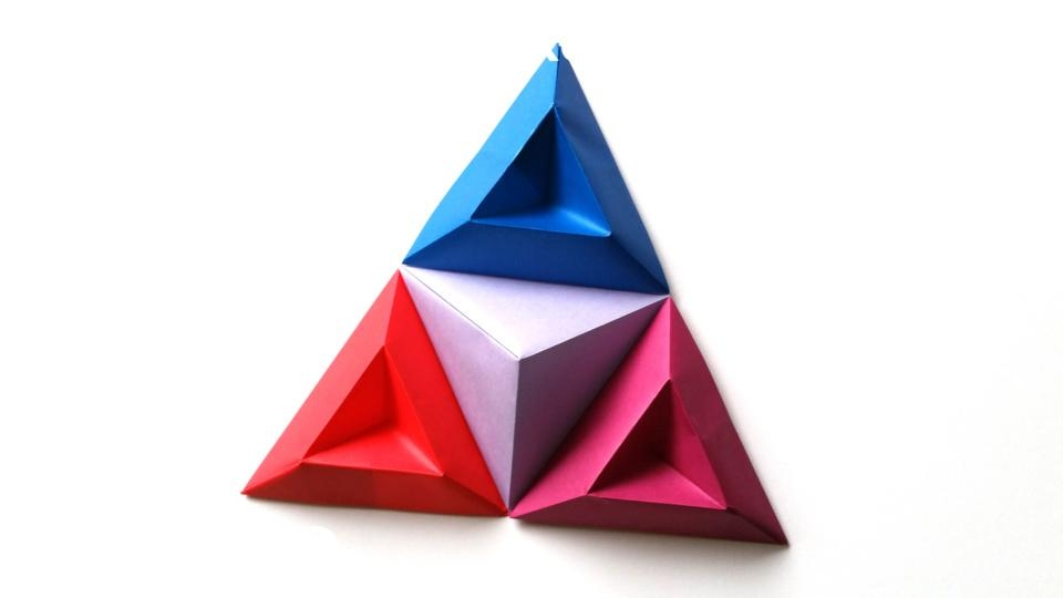 Origami Tricorne Pixels For 3D Paper Wall Art Regarding 3D Triangle Wall Art (Image 15 of 20)