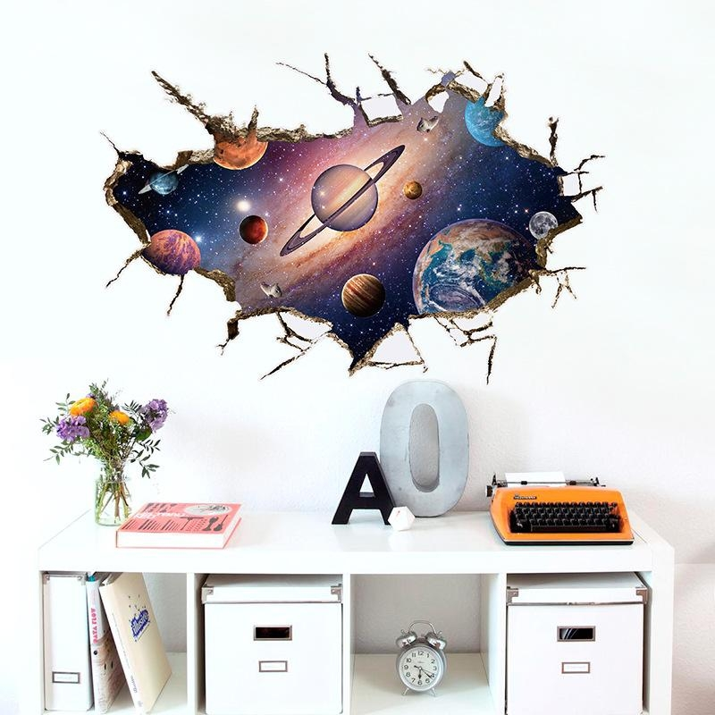 Outer Space Cracked Wall View Wall Sticker For Kids Room Living Within Space 3D Vinyl Wall Art (Image 14 of 20)