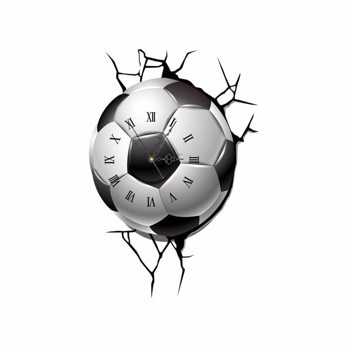 Pag Sticker 3D Wall Clock Decals Soccer Football Cracking Wall Intended For Football 3D Wall Art (Image 15 of 20)