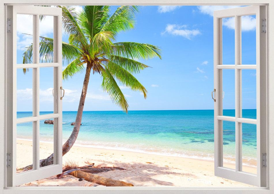 Palm Tree Beach Wall Decal 3D Window Tropical Beach Decal Inside Beach 3D Wall Art (Image 14 of 20)