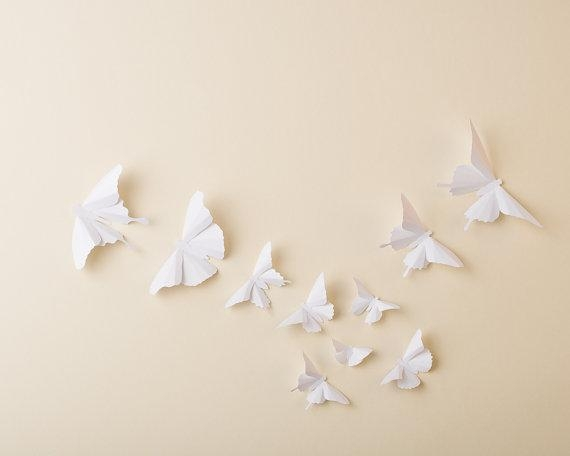 Paper Butterflies: 3D Butterfly Wall Art For Nursery Baby Intended For White 3D Butterfly Wall Art (Image 17 of 20)