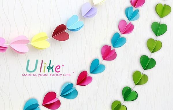 Paper Heart Garland 3D Effect Wall Decoration 3D Wall Art Decor Regarding Heart 3D Wall Art (Photo 18 of 20)