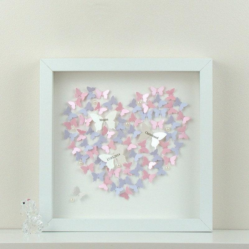 Personalised Wall Art With 3D Paper Butterflies. Beautiful 3D With Heart 3D Wall Art (Photo 4 of 20)
