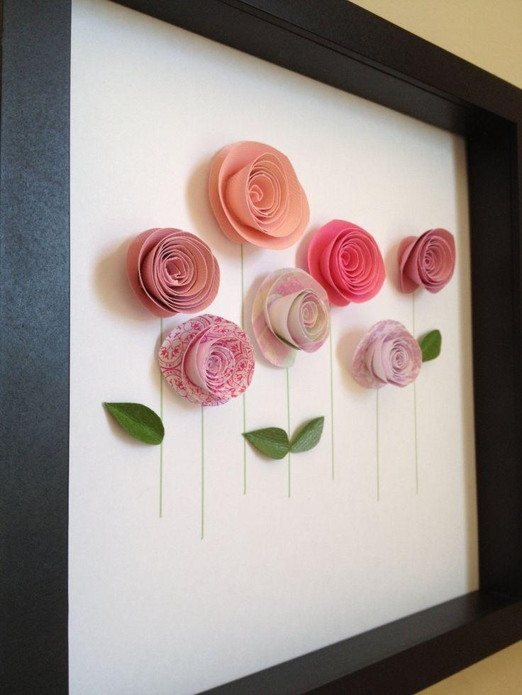 Pink Rose Garden, 3D Paper Art, Customize With Your Colors And For Diy 3D Paper Wall Art (Image 19 of 20)