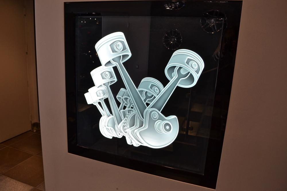 Piston & Gears 3D Carved Glass Wall Art | Sans Soucie Art Glass Pertaining To 3D Glass Wall Art (Image 11 of 20)
