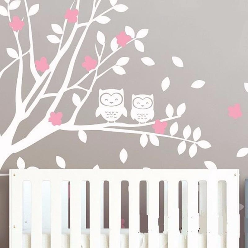 Product Owls And Huge White Tree Vinyl Decals Baby Nursery Bedroom Within Baby Nursery 3D Wall Art (Image 17 of 20)