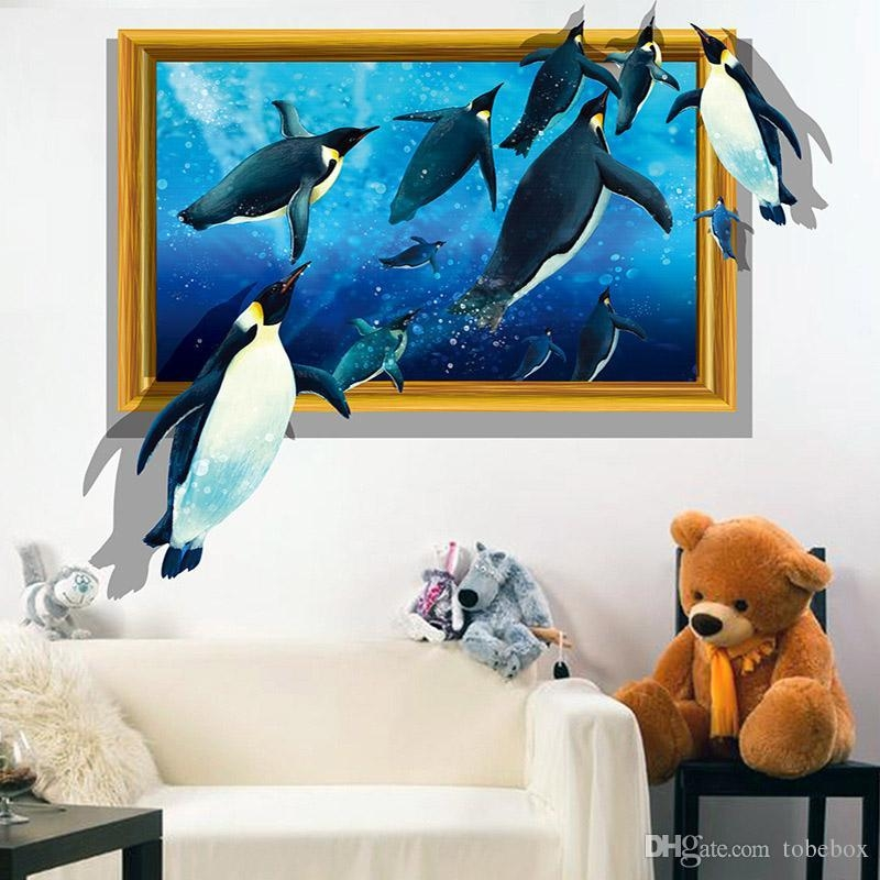 Pvc 3D Visual Effects Shark Wall Art Stickers Decor Penguins Intended For 3D Visual Wall Art (Image 18 of 20)