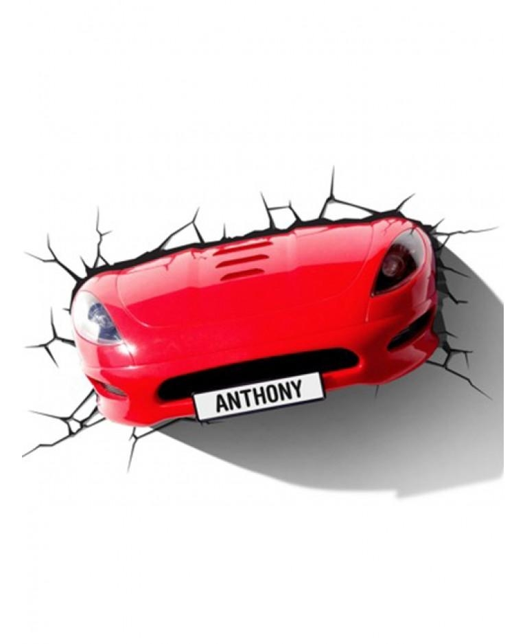 Red Sports Car 3D Led Wall Light Regarding Cars 3D Wall Art (Image 15 of 20)