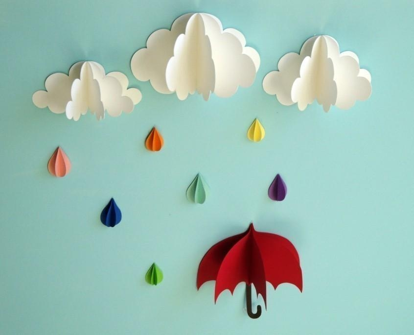 Red Umbrella Raindrops And Clouds Wall Art/3D Paper Wall Within 3D Wall Art With Paper (Image 19 of 20)