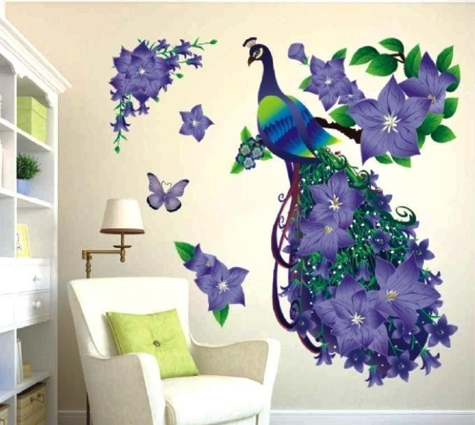 Removable 3D Purple Peacock Flower Wall Stickers Imitation Crystal In 3D Removable Butterfly Wall Art Stickers (View 10 of 20)