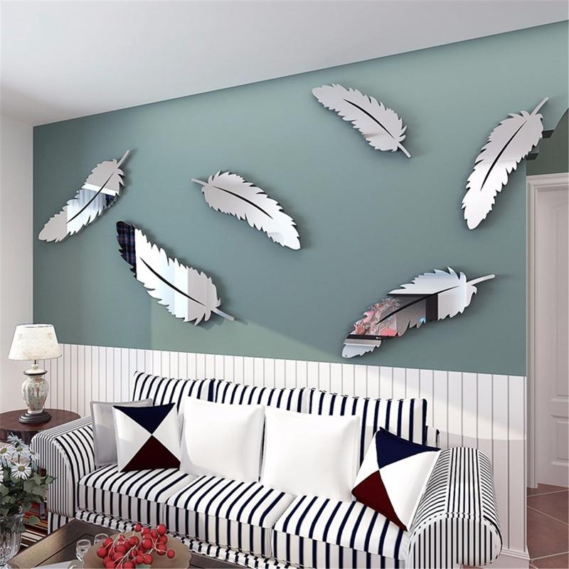 Removable Diy Silver Feather 3D Mirror Wall Art Stickers Decal Pertaining To 3D Wall Art For Bedrooms (Photo 10 of 20)
