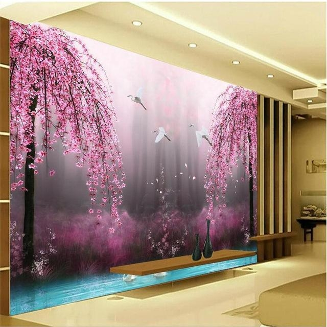 Romantic Purple Peach Crane Lake Wall Art Background Photography In Bedroom 3D Wall Art (Image 18 of 20)