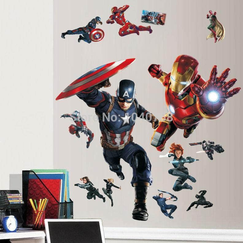 Room Poster Picture – More Detailed Picture About Avengers Civil In Captain America 3D Wall Art (Image 17 of 20)
