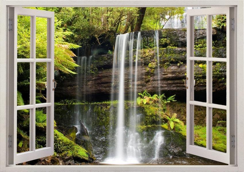 Russel Falls Wall Sticker Waterfall Wall Decal 3D Window Regarding 3D Wall Art Window (View 20 of 20)