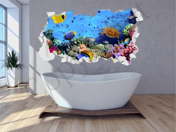 Sea Aquarium Fish Bathroom Under Water Crumbled Wall 3D Huge Inside Fish 3D Wall Art (Image 15 of 20)