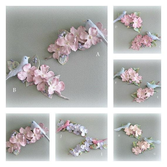 Shabby Chic Bird Sculptures Wall Sculptures Clay Flower Intended For Flowers 3D Wall Art (View 8 of 20)