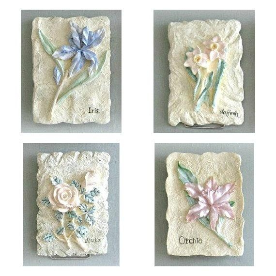 Shabby Chic Flower Plaque 3D Flower Wall Decor 1 Flower Wall For 3D Flower Wall Art (Image 16 of 20)